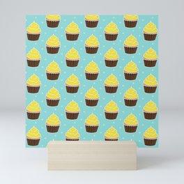 Lemon Cupcakes with Frosting Pattern Mini Art Print