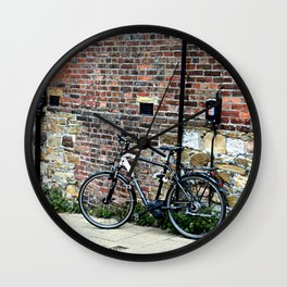 Bicycle Against Red Brick Wall Wall Clock