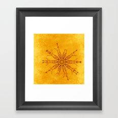 Smoke flowers on textured yellow Framed Art Print