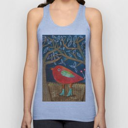 Red Bird in Galoshes Unisex Tank Top