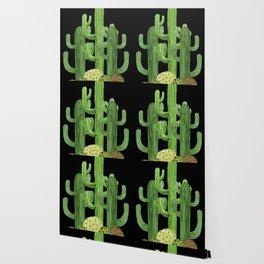 Desert Vacay Three Cacti on Black Wallpaper