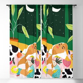 Moon Lover, Bold Quirky Fashion Illustration, Eclectic Decor Modern Bohemian Plant Lady Blackout Curtain