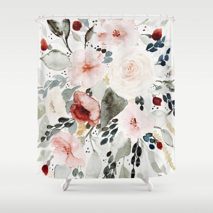 Loose Watercolor Bouquet Shower Curtain