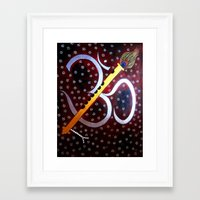 om Framed Art Prints featuring Om by Priyanka Rastogi