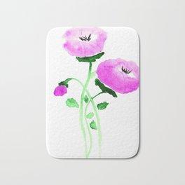 Watercolor Pink Poppies Bath Mat