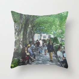 Bryant Park_painting Throw Pillow