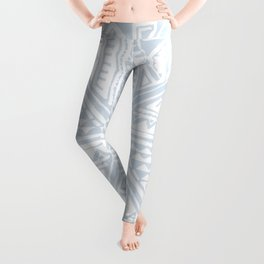 Simply Tribal Tile in Sky Blue on Lunar Gray Leggings