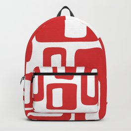 Retro Mid Century Modern Abstract Pattern 336 Red Backpack