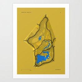 Brooklyn Prospect Park Map (Yellow) Art Print