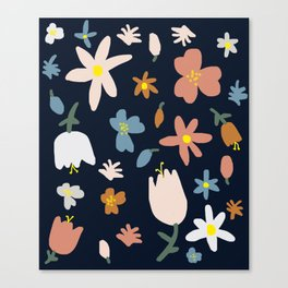 Blooming in the Navy (Handmade Floral Pattern) Canvas Print