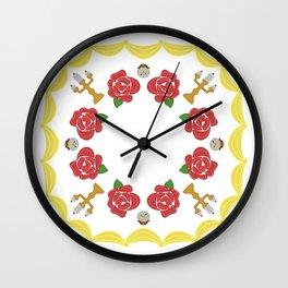 Rose, clock, candelabra mandala Wall Clock