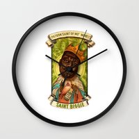 biggie smalls Wall Clocks featuring Saint Biggie! by Amelia Jude