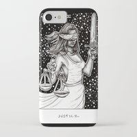 tarot iPhone & iPod Cases featuring Justice Tarot by Corinne Elyse