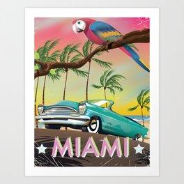 Miami, Florida, USA retro travel poster Art Print