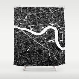 Black City Map of London, UK Shower Curtain