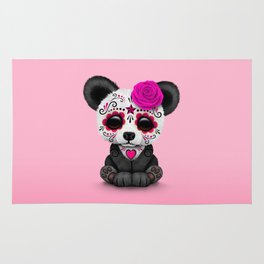 Pink Day of the Dead Sugar Skull Panda Rug
