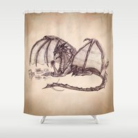 mythology Shower Curtains featuring Material Girl ~ Dragon by River Dragon Art