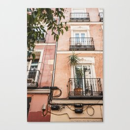 Colorful houses in Madrid Spain - Travel art print Canvas Print
