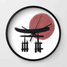 torii gate and the sun watercolor painted background Wall Clock