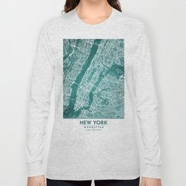Turquoise Teal Wall Art Showing Manhattan New York City, Brooklyn and New Jersey Long Sleeve T-shirt