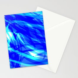 Vector glowing water background made of blue sea lines. Stationery Cards