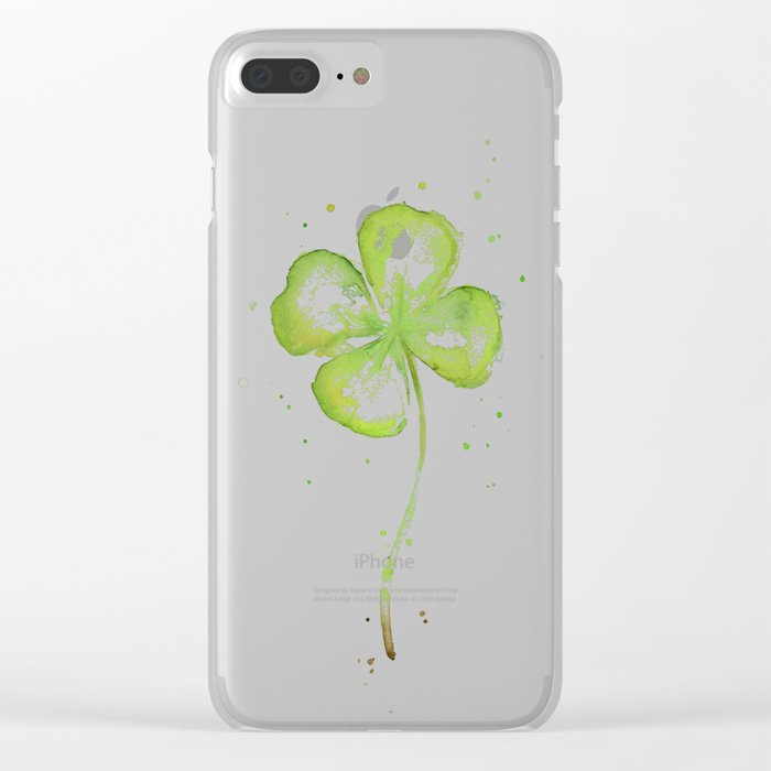 Clover Four Leaf Lucky Charm Green Clovers Clear iPhone Case