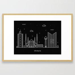 Ankara Minimalist Skyline Drawing Framed Art Print