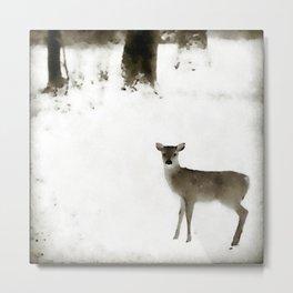 Fawn in the Snow Metal Print