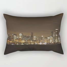 Chicago Skyline at Night Color Photography Rectangular Pillow
