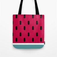 watermelon Tote Bags featuring Watermelon by According to Panda