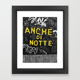 Black and White Yellow Bologna Street Photography Framed Art Print