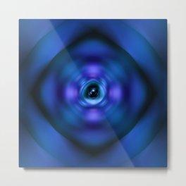 Blue spinning atom Metal Print