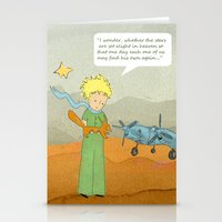 le petit prince Stationery Cards featuring  Le Petit Prince  by Ia Re