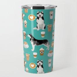 Husky siberian huskies coffee cute dog art drinks latte dogs pet portrait pattern Travel Mug