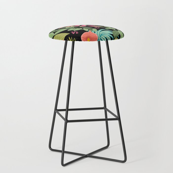 Exotic Garden Tropical Ilration Fl Bright And Colourful Caribbean Style Bar Stool By Ateliermarla