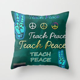 Teach Peace Blackboard Symbols Throw Pillow