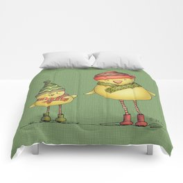 Two Chicks - Green Comforters