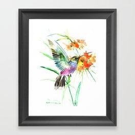 Hummignbird and Flowers Framed Art Print