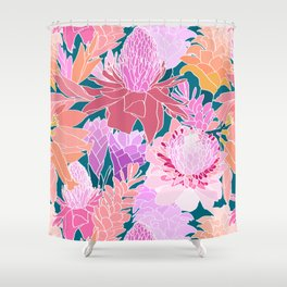 Ginger Flowers in Coral + Dark Teal Green Shower Curtain