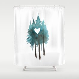Forest Love - heart cutout watercolor artwork Shower Curtain