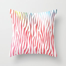 Abstract pink coral teal aqua watercolor zebra pattern Throw Pillow