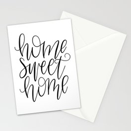 Home Sweet Home, Handlettered, Black and White, Farmhouse Stationery Cards