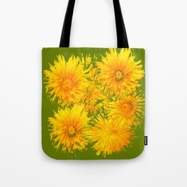 ABSTRACTED MOSS GREEN  FIRST SPRING YELLOW DANDELIONS Tote Bag