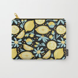 Lemon Pattern Black Carry-All Pouch