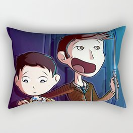 Castiel and The Doctor  Rectangular Pillow