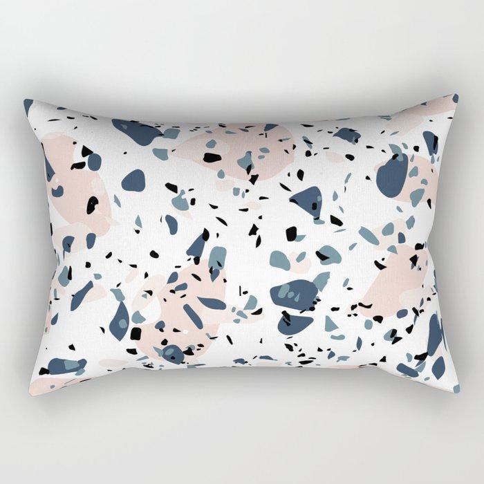 Ash Blue Salmon Pink Modern Terrazzo Pattern Rectangular Pillow