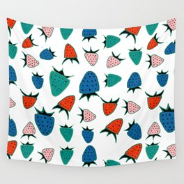 Strawberry white Wall Tapestry
