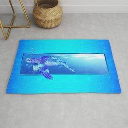 Underwater Swimming Sea Turtle Rug