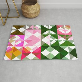 Pink Roses in Anzures 1 Abstract Triangles 1 Rug