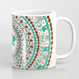 Cafe Expresso Teal, Brown, and White Mandala Coffee Mug